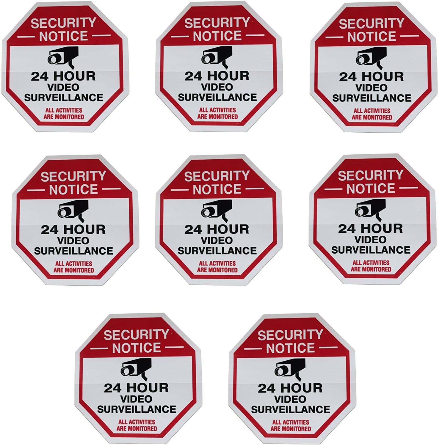 8 Red Octagon-Shaped Video Surveillance System Security Door & Window Stickers 3 X 3 Inch Vinyl Decals