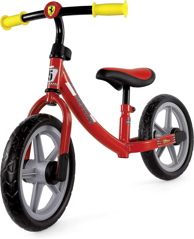 Chicco Ferrari - Bicicleta de Paseo Infantil con Ruedas de protección contra Puntadas, Cuadro de Metal Ultraligero, Manillar Ajustable y Asiento, Asiento Suave, 85 x 60 cm