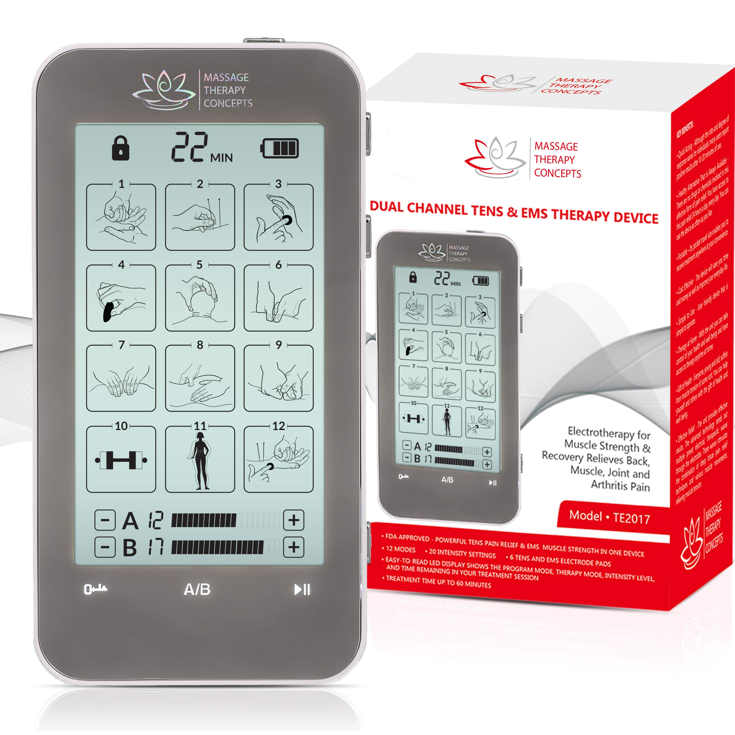 TENS Unit and EMS Combination Muscle Stimulator with 2 Channels, 12 Modes for Pain Management for Back, Neck, Arms, Legs, Abs, and Muscle Rehabilitation by Massage Therapy Concepts