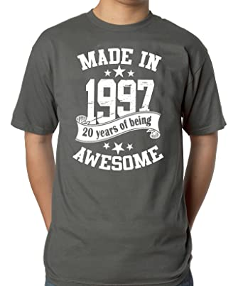 d6b785b7994824 Mens 20th Birthday Grey T-Shirt - Made in 1997-20 Years of Being ...
