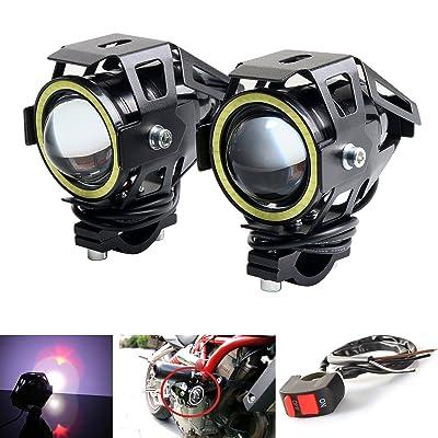 LEDUR Motorcycle Headlight Led U7 DRL Fog Driving Running Light with Angel Eyes Lights Ring Front Spotlight Strobe Flashing White Light and Switch(2PCS,White Halo): Automotive