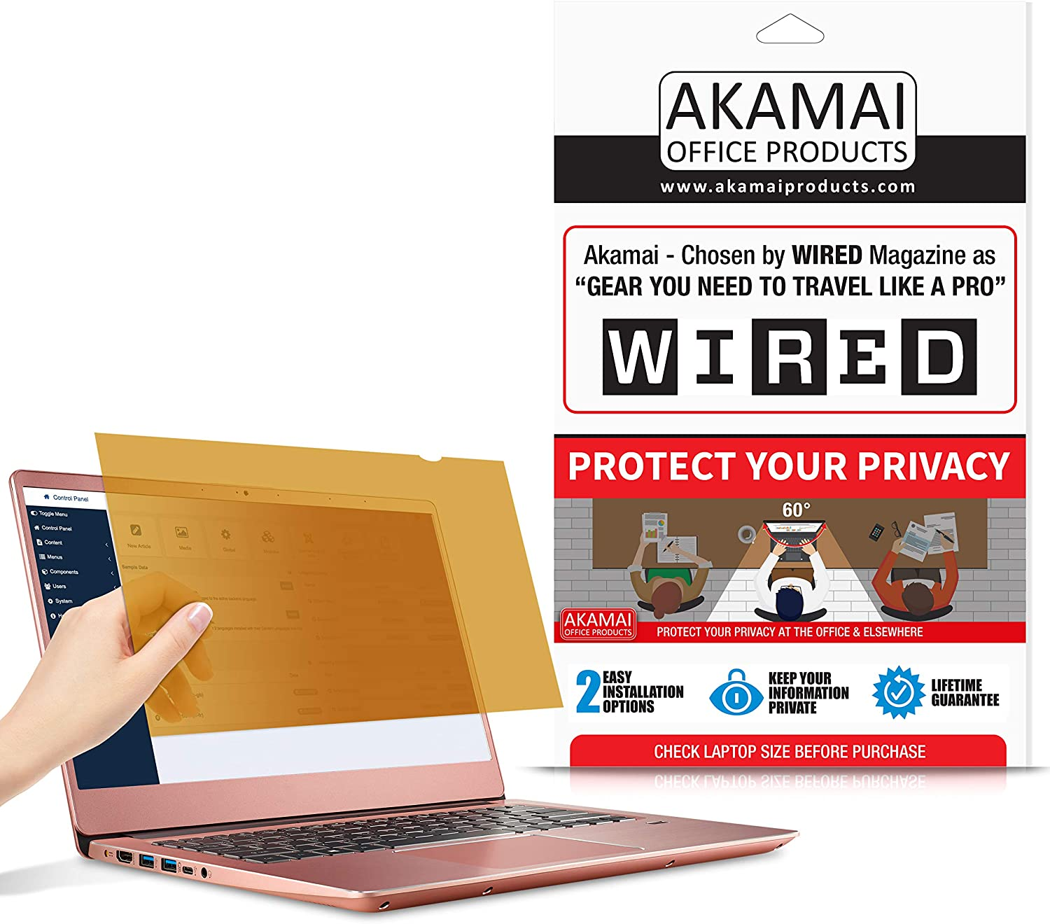 "14"" Akamai Computer Privacy Screen (16:9) - Gold - Security Shield - Laptop Monitor Protector - UV and Blue Light Filter (14.0 inch Widescreen (16:9), Gold)"