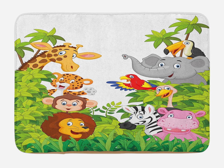 Ambesonne Nursery Bath Mat, Cartoon Style Zoo Animals Safari Jungle Mascots Tropical Forest Wildlife Pattern, Plush Bathroom Decor Mat with Non Slip Backing, 29.5
