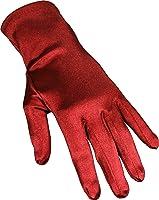 Stretch Satin Dress Gloves Wrist Length, Color: Red
