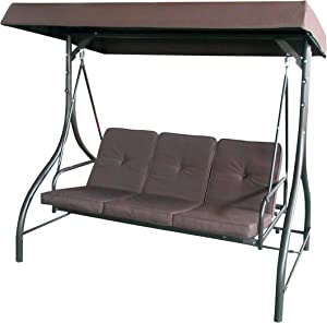 ALEKO SWC03BR Outdoor Garden Porch Swinging Couch and Daybed Swing Chair Steel Frame Patio Canopy Brown