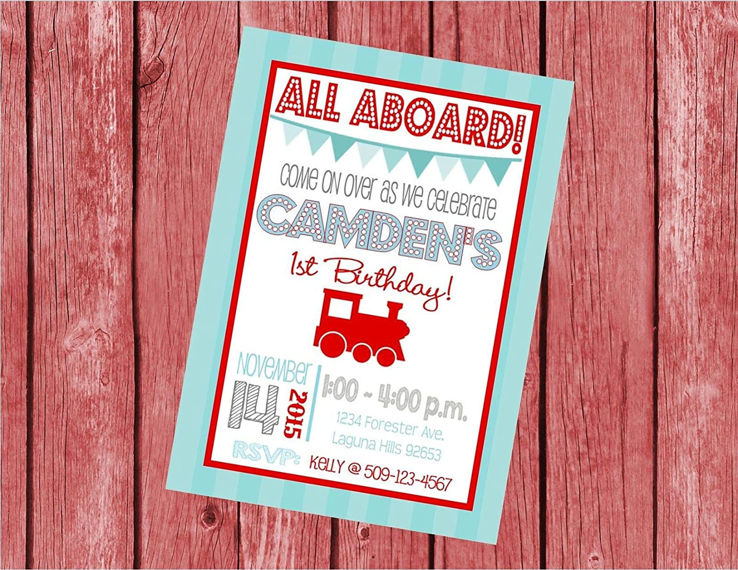 Red Light Blue Vintage Train Choo Choo Customized 5x7 Printable OR Printed Invitation Invite WITH Envelopes Made to Match ANY theme in my Shop