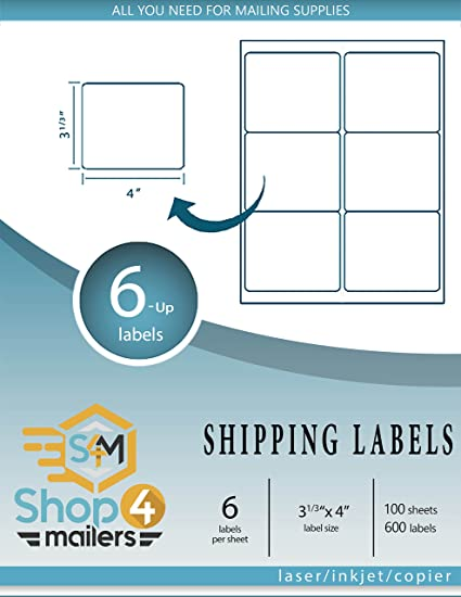 Amazon.com : Shop4Mailers 6-Up White Shipping Labels 3 1/3\