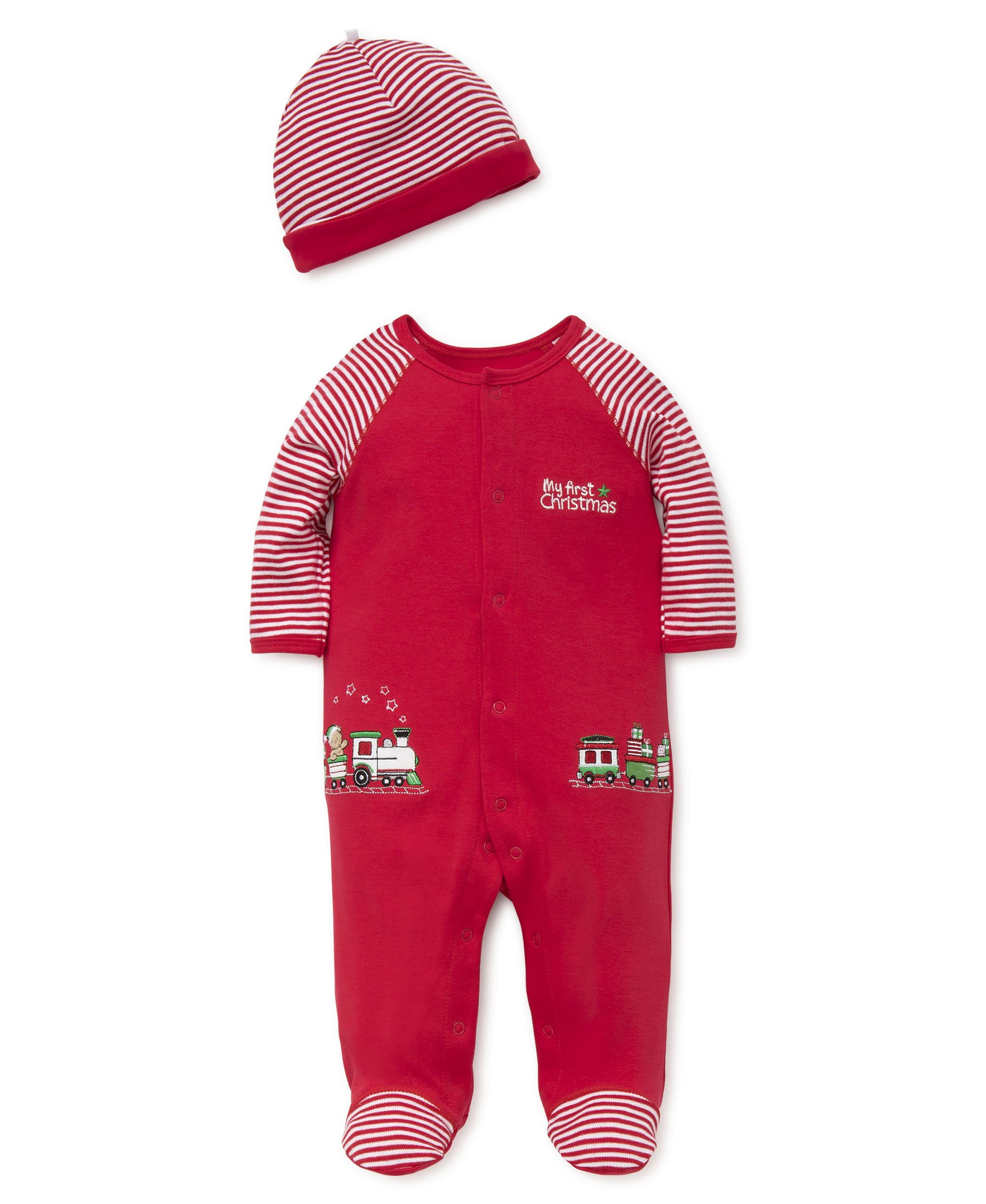 Little Me Baby Holiday Cotton Footie, Train Gift, 6