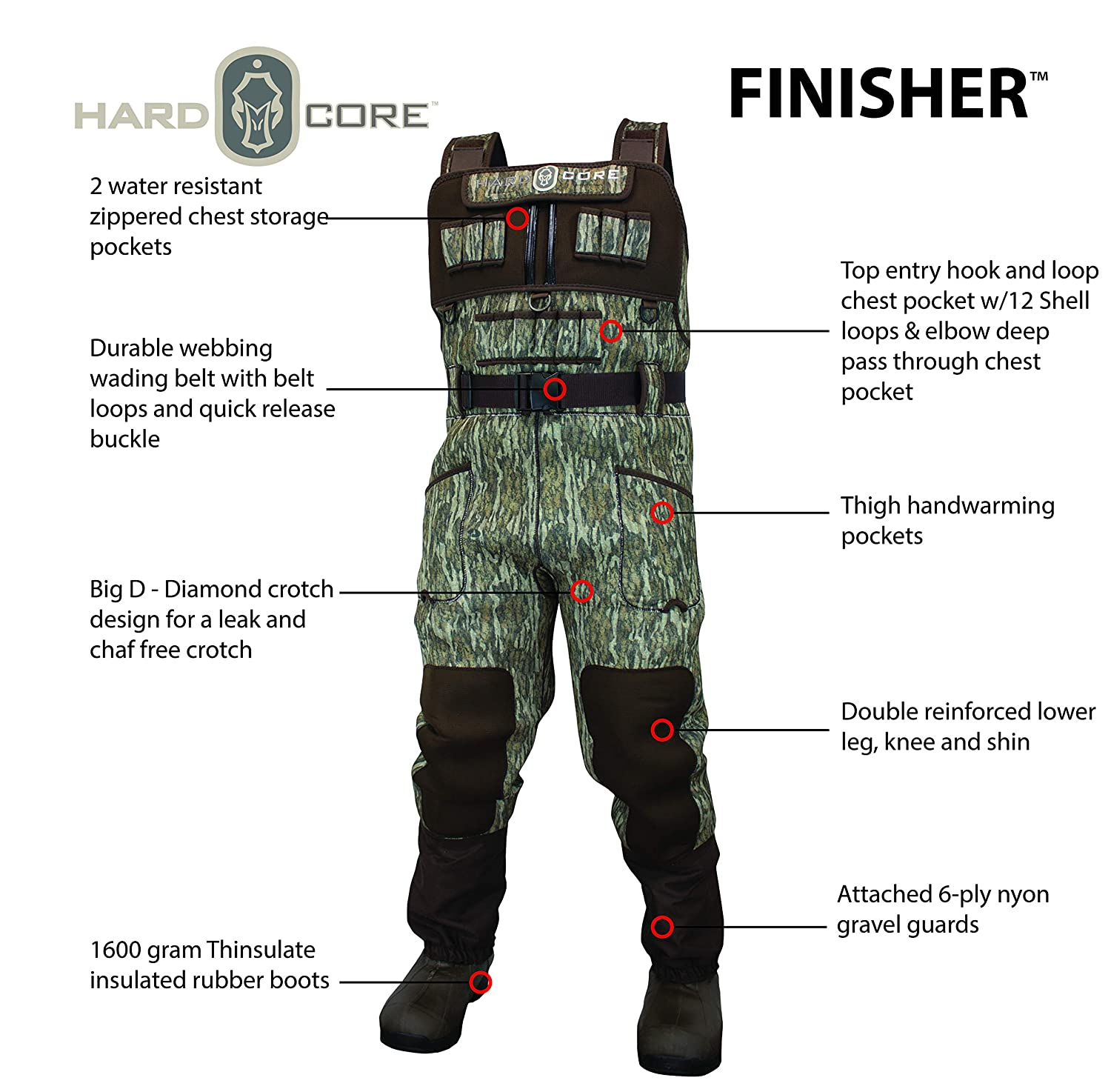 d399bea6d922c Amazon.com : Hardcore 5mm Neo Finisher Camo Chest Wader 1600g Rubber Boots  : Sports & Outdoors