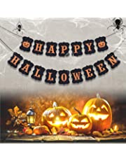 ERKOON Happy Halloween Banner Bunting with Pumpkin Sign for Halloween Wall Decorations Party Supplies Home Hanging Photo Props