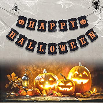 Erkoon Happy Halloween Banner Bunting With Pumpkin Sign For