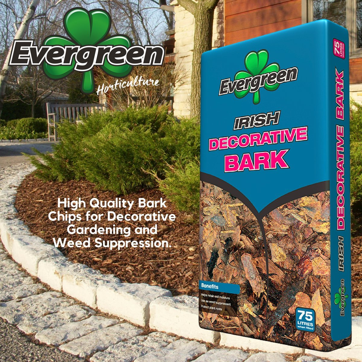 Evergreen Decorative Chip Bark 75 Ltr - 3 x 75 Ltr Large Bags Evergreen Horticulture