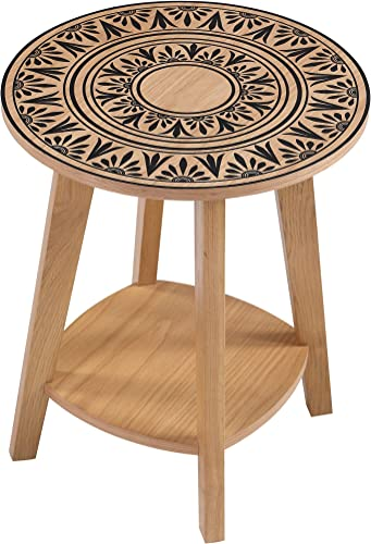 Home to Office Solutions Awan Mid Century Modern Living Room Printed Top End Table