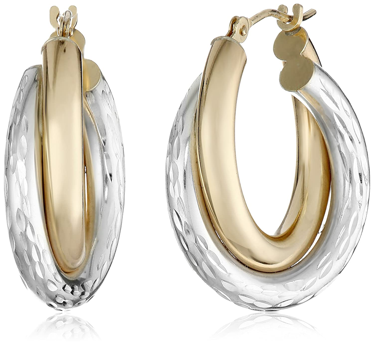 14k Gold-Bonded Sterling Silver Two-Tone Hoop Earrings Amazon Collection E14-127AG-2C