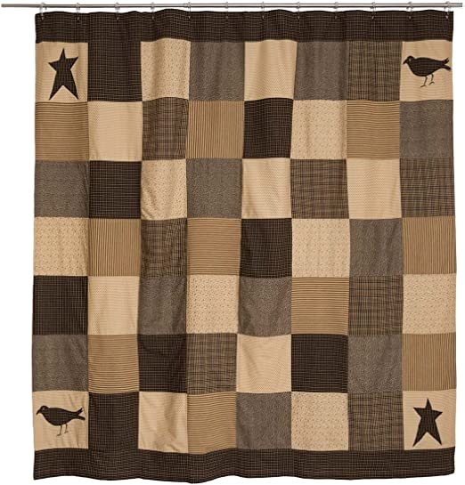 KETTLE GROVE Quilted Crow Star Throw Primitive Rustic Prim Country Cotton Black