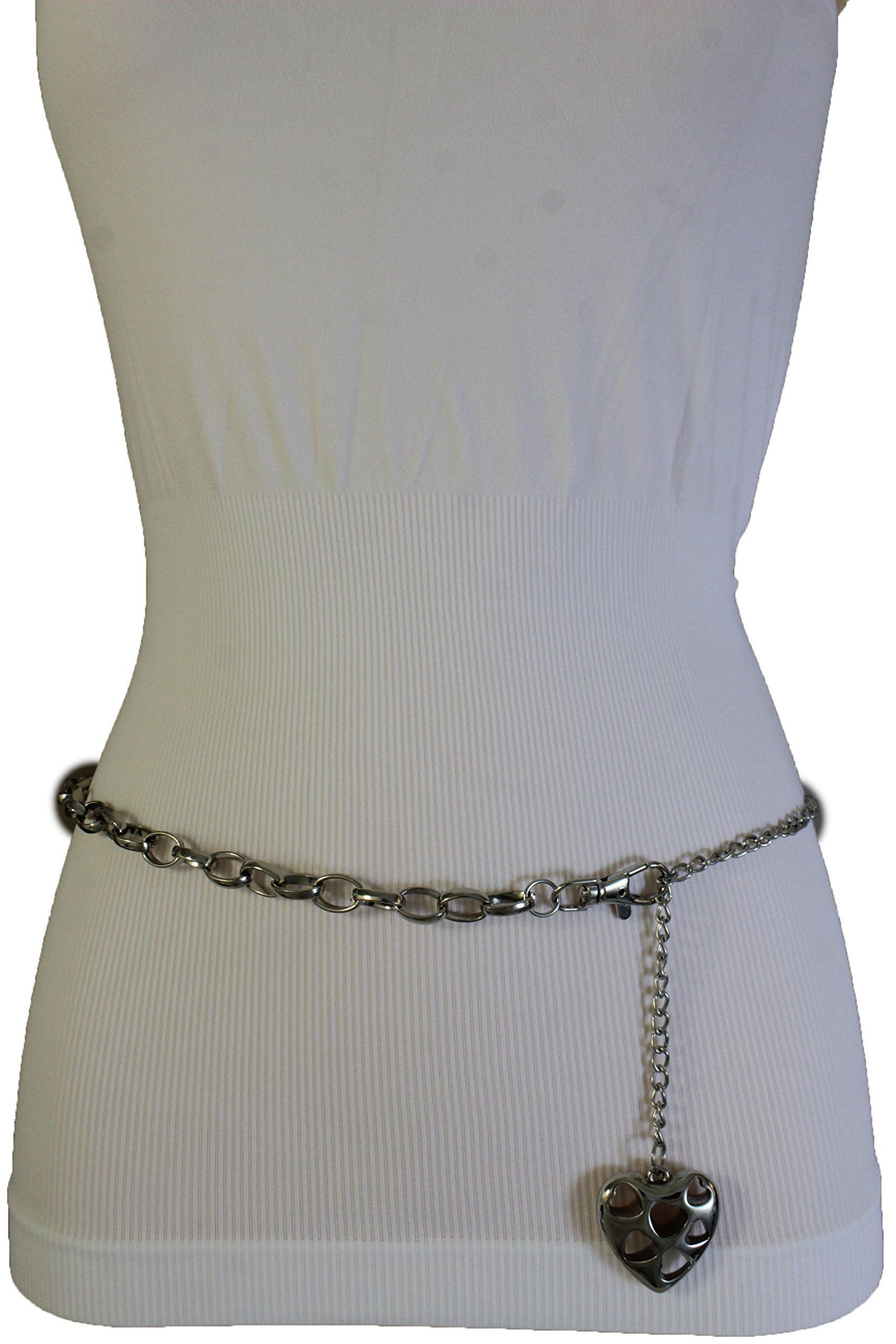 TFJ Women Fashion Silver Metal Chains Belt Love Heart Charm Plus M L XL