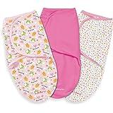 Summer Infant 3 Piece SwaddleMe Adjustable Infant Wrap, Pink Owl, Large