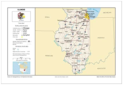 Amazon.com : 13x19 Illinois General Reference Wall Map ... on illinois on a map of north america, detroit map usa, cartoon map of usa, illinois state, illinois county map, illinois storm radar map, iowa and illinois usa,