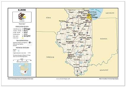 Amazon.com : 13x19 Illinois General Reference Wall Map - Anchor Maps on illinois storm radar map, detroit map usa, illinois state, illinois on a map of north america, illinois county map, cartoon map of usa, iowa and illinois usa,