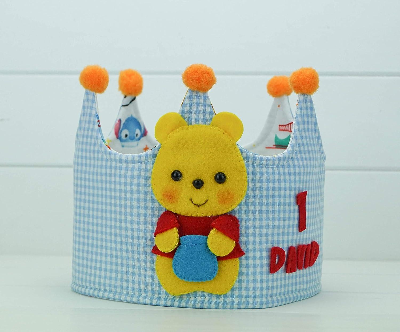Corona Cumpleaños Tela Reverisble Winnie de Pooh: Amazon.es ...