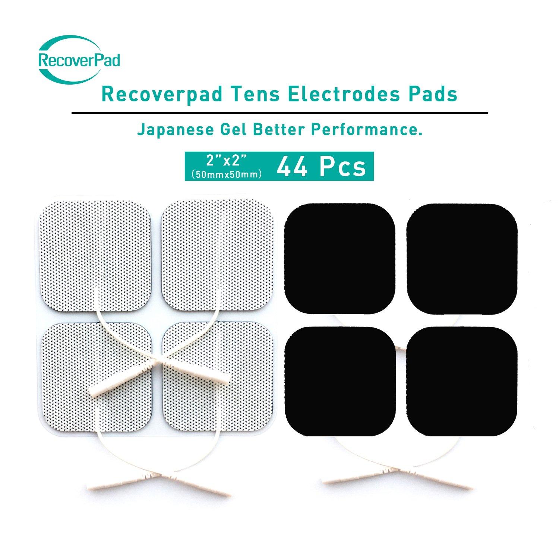 RecoverPad 20pcs 50x50mm Profesional TENS Electrodos, 3rd Gel japoné s Sin lá tex Electrodos(CE/FDA Aprobado), Mejor desempeñ o autoadherente para electroestimuladores TENS EMS 3rd Gel japonés Sin látex Electrodos(CE/FDA Aprobado)