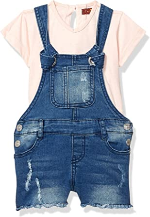 7 For All Mankind Girls Toddler 2 Piece Striped T-Shirt and Denim Shortall Set