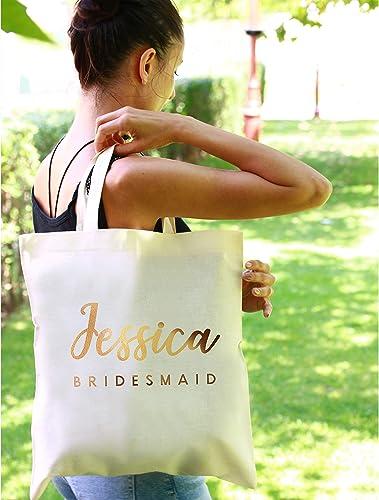 e44b9ceb594c Amazon.com  Bridesmaid Tote Bag Custom Wedding Canvas Bags Personalized  Maid of Honor Tote Bag Be my Bridesmaid Bridal Shower Bags Wedding Party  Bags  ...