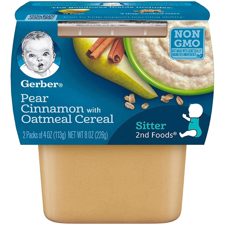 Gerber Baby Food, 2nd Foods, Pears & Cinnamon With Oatmeal, 8 oz, (Pack of 1)