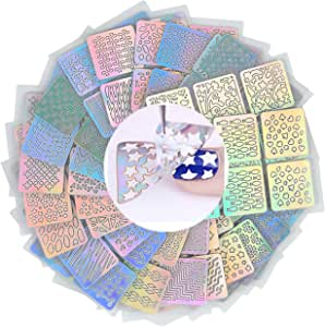 CCbeauty 24 Sheets Nail Vinyls Stencil Sticker Nail Art Design Stickers 144 Pieces Nail Stencils for Women Cute Easy Fashion Vinyls Nail Decorations