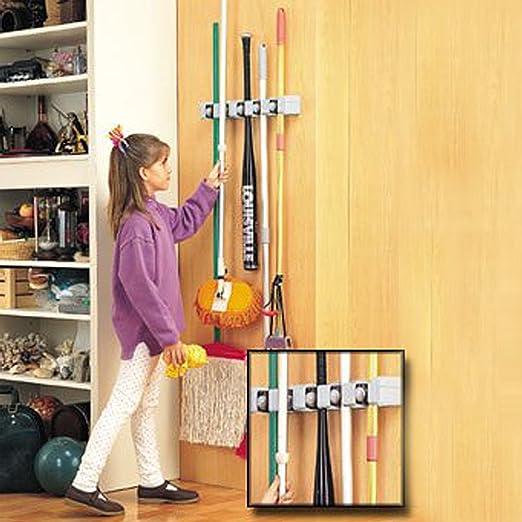 SySrion® Mop and Broom Holder, 5 Position with 6 Hooks Garage ...