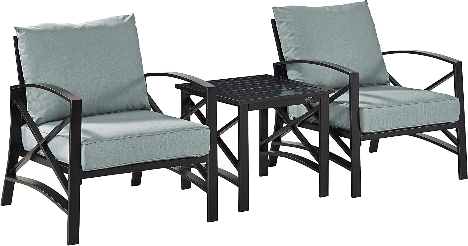 Crosley Furniture KO60016BZ-MI Kaplan Outdoor Metal 3-Piece Seating Set (2 Arm Chairs, Side Table), Oiled Bronze with Mist Cushions