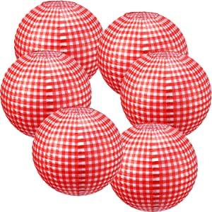 Picnic Party Decorations Paper Lanterns Round Hanging Lanterns Picnic Party Lanterns for Summer Barbecue Birthdays Holidays Picnic Party Supplies (White and Red Plaid, 6 Pieces)