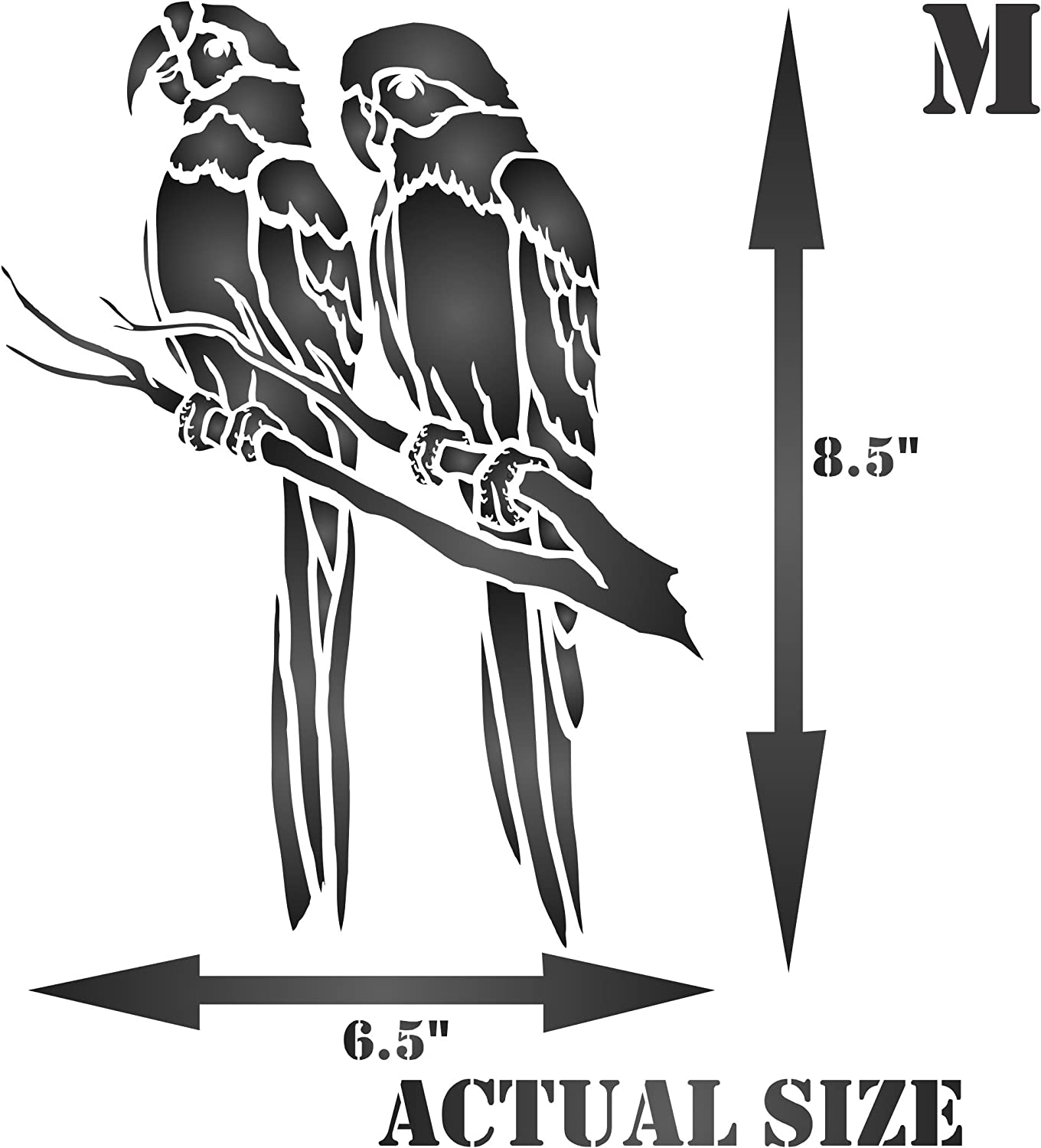 Use on Paper Projects Scrapbook Journal Walls Floors Fabric Furniture Glass Wood etc. - Reusable South American Macaw Animal Wildlife Branch Wall Stencil Template S 12.5 x 16.5cm Parrot Stencil