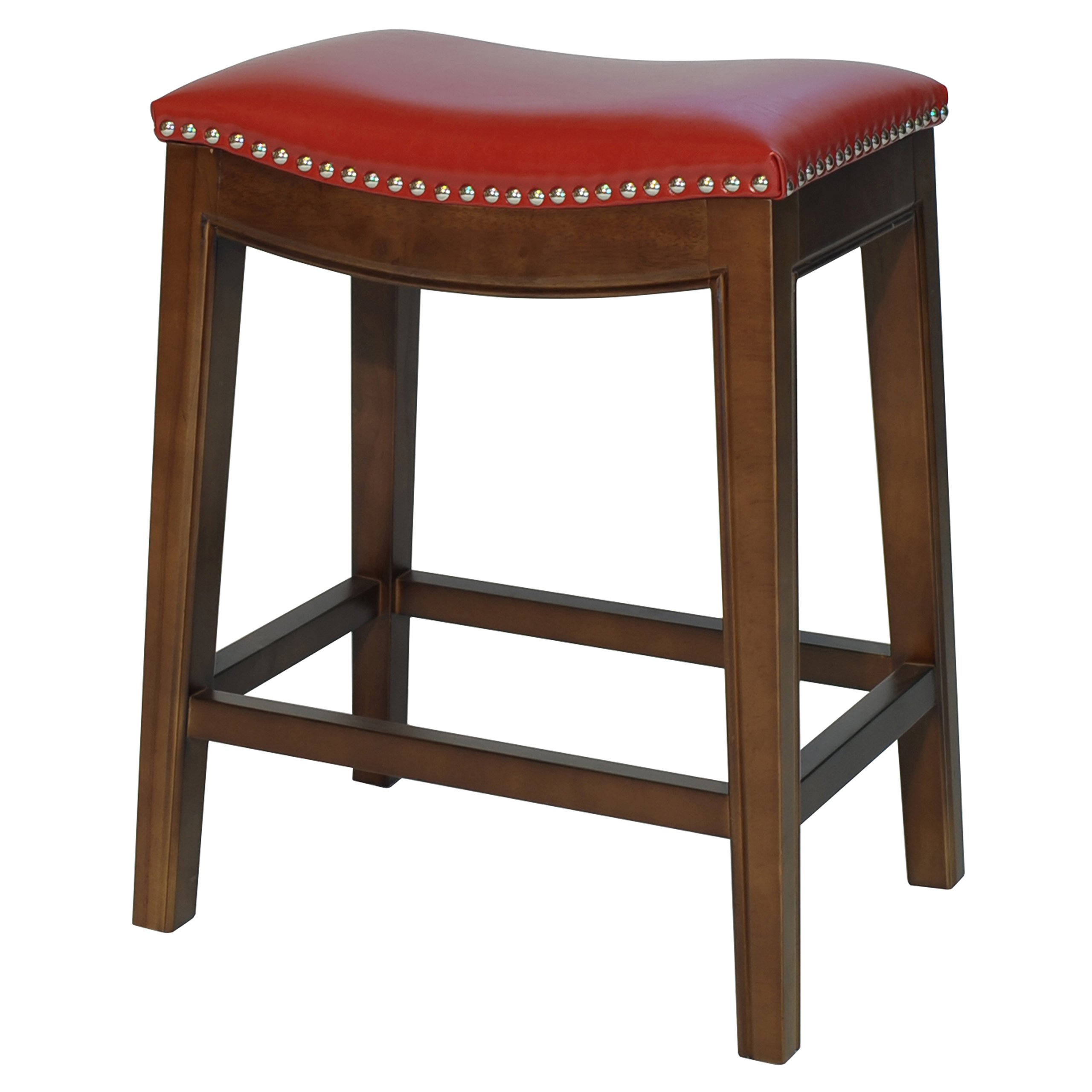 New Pacific Direct Elmo Bonded Leather Counter Stool,Cinnamon Brown Legs,Red