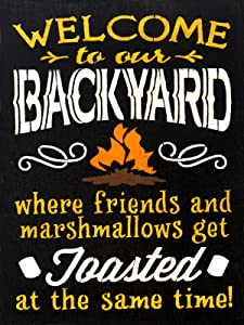 COVERS & ALL Firepit Sign - Welcome to Our Backyard Heavy Duty Durable Firepit Signs, Firepit Welcome Signs Decor for Indoor & Outdoor Use, Large 12 x 16 Aluminum Signs for Firepit
