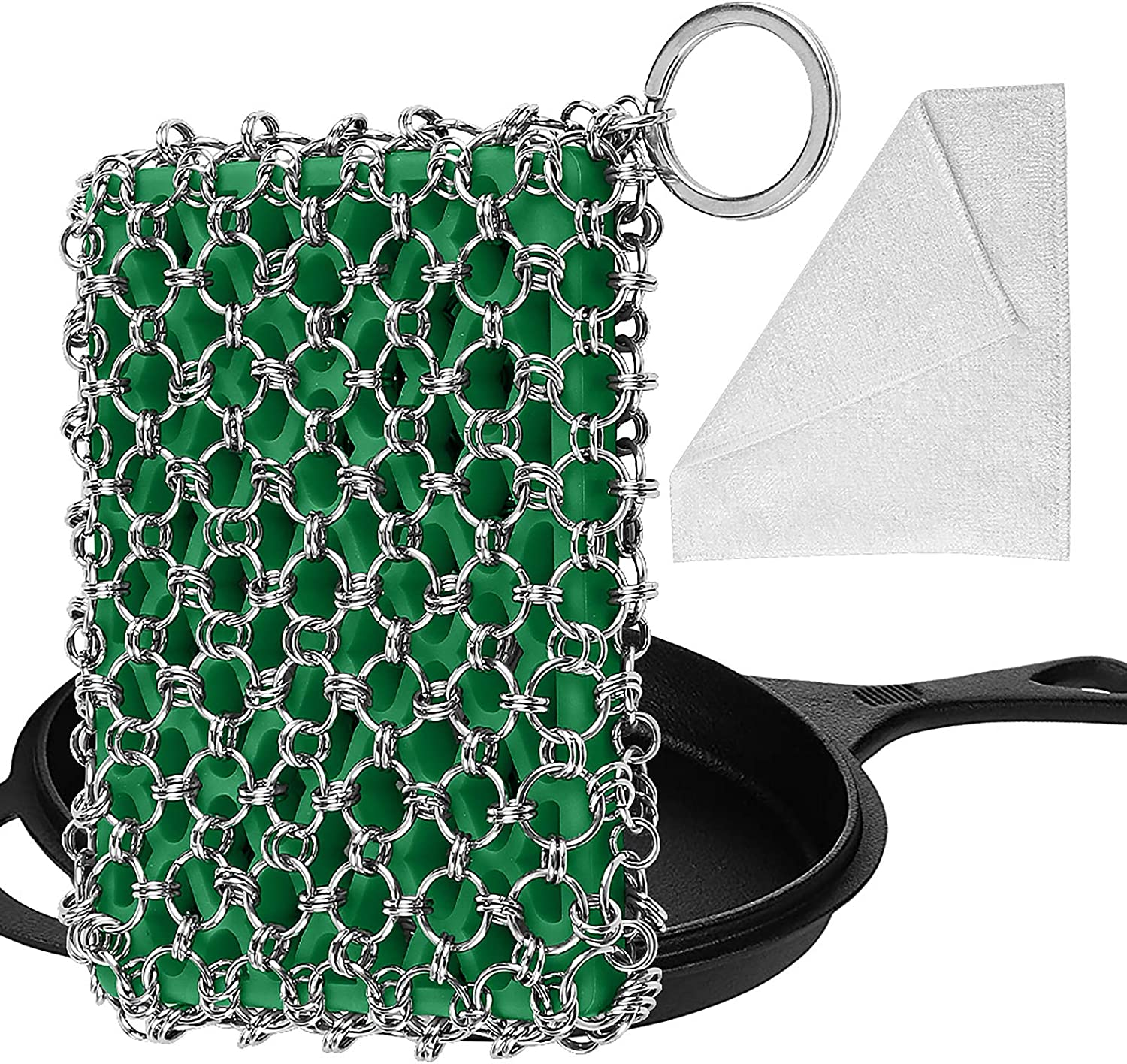 Herda Cast Iron Skillet Cleaner,Upgraded Chainmail Scrubber Set Silicone Insert with Bamboo Fiber Cloth,316 Stainless Steel 3D Chain Metal Scrubber Scraper for Castiron Pan,Griddle,Baking Pan (Green): Health & Personal Care