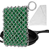 Herda Cast Iron Skillet Cleaner - Upgraded Chainmail Scrubber for Pre-Seasoned Pan,316 Stainless Steel Chain Scrubbing Pad Sc