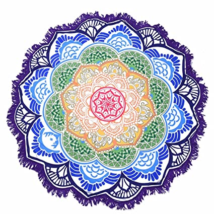Round Beach Towel Roundie Blanket Yoga Mat Picnic Blanket Baby Playing Mat Mandala Tapestry Tablecloth with Tassels Purple Lotus (59 x 59 inch, ...