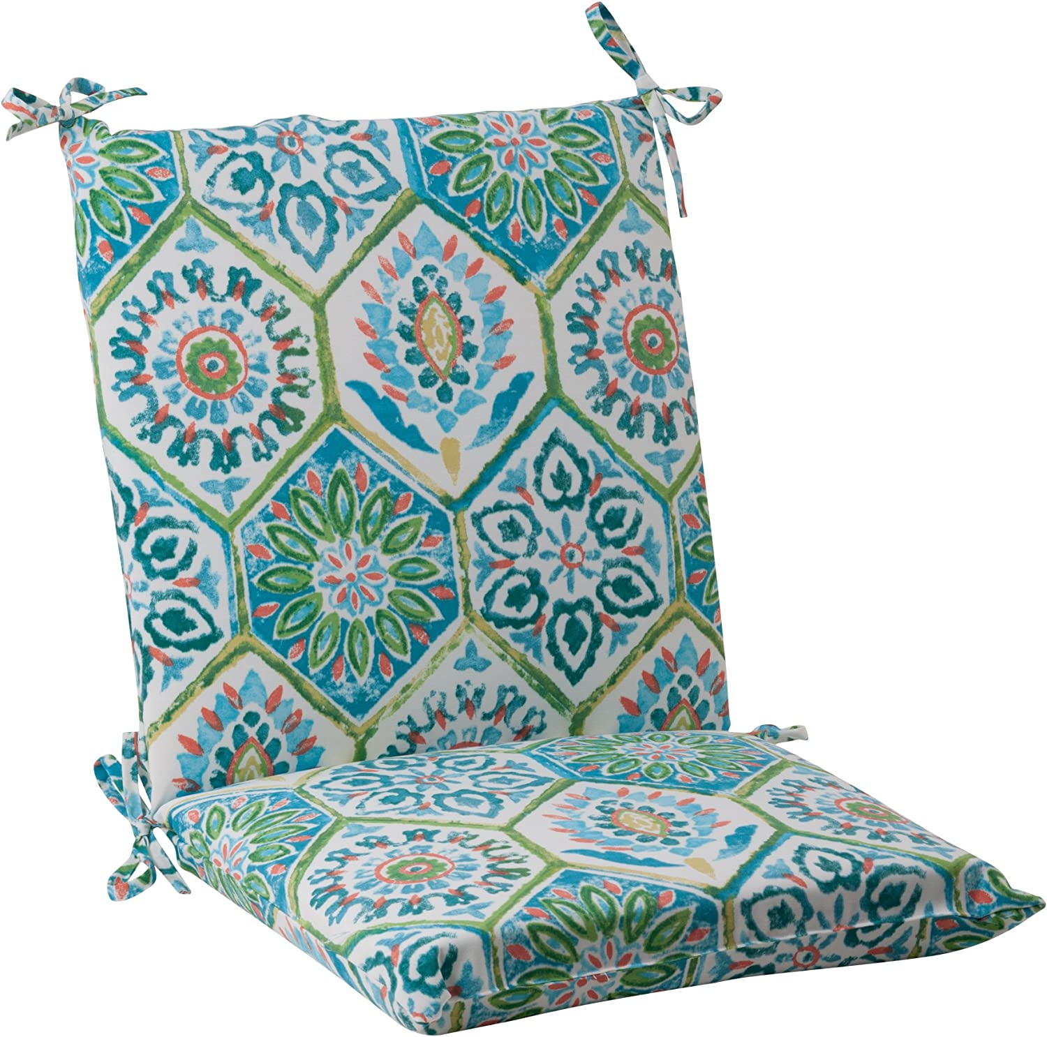 Pillow Perfect Outdoor Summer Breeze Squared Chair Cushion, Pool