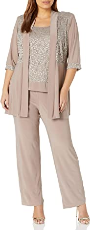 R&M Richards Womens Plus Size Lace Pant Set Dress