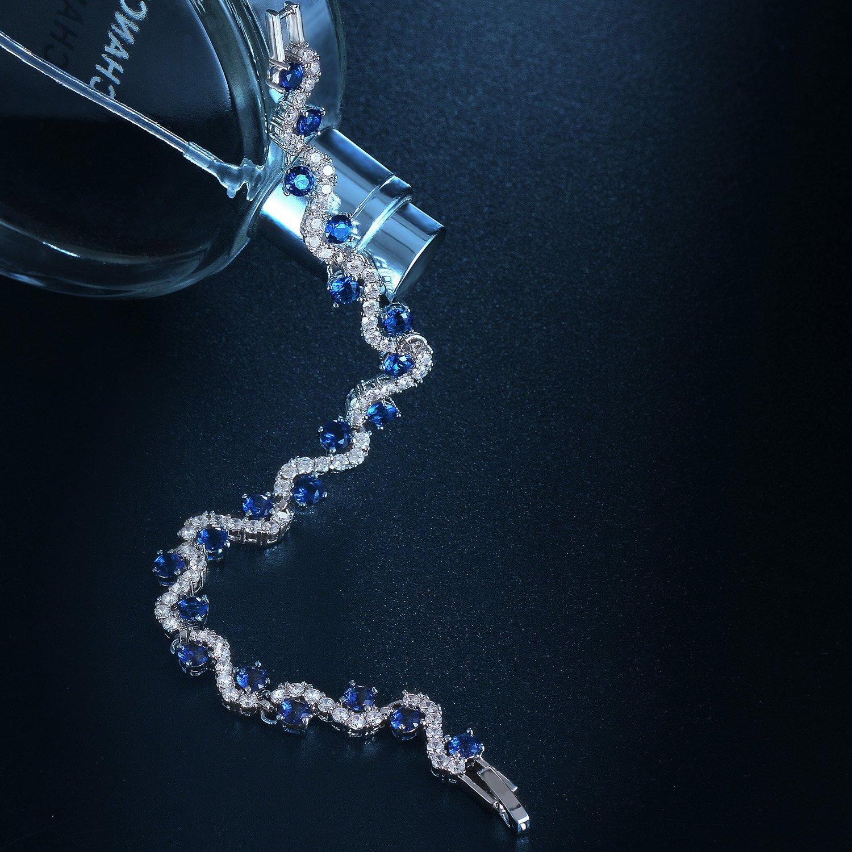 Vagues Conception Coffret /à bijoux bleu gratuit Beau cadeau. Floray Femme Zircon mousseux Tennis Bracelet