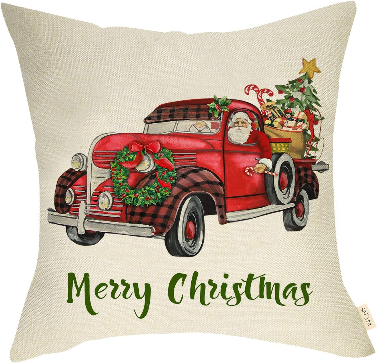 Fjfz Christmas Farmhouse Decorative Throw Pillow Cover Merry X'mas Red Truck Santa Claus Wreath Trees Gifts Sign Winter Holiday Decoration Home Décor Cotton Linen Cushion Case Sofa Couch 18