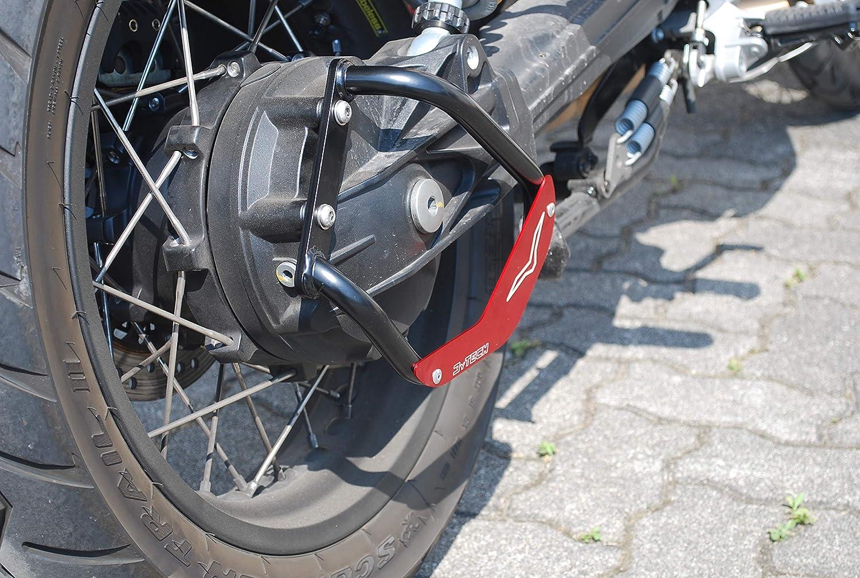 MyTech – Protección cardán de acero negro e inserto de aluminio anodizado rojo para Moto Guzzi V85TT: Amazon.es: Coche y moto