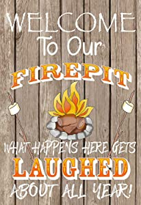 Fhdang Decor Garden Flag, Firepit, Welcome, Camping Gift, Lake Living, Funny Flag, 12
