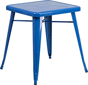 """Flash Furniture Commercial Grade 23.75"""" Square Blue Metal Indoor-Outdoor Table"""