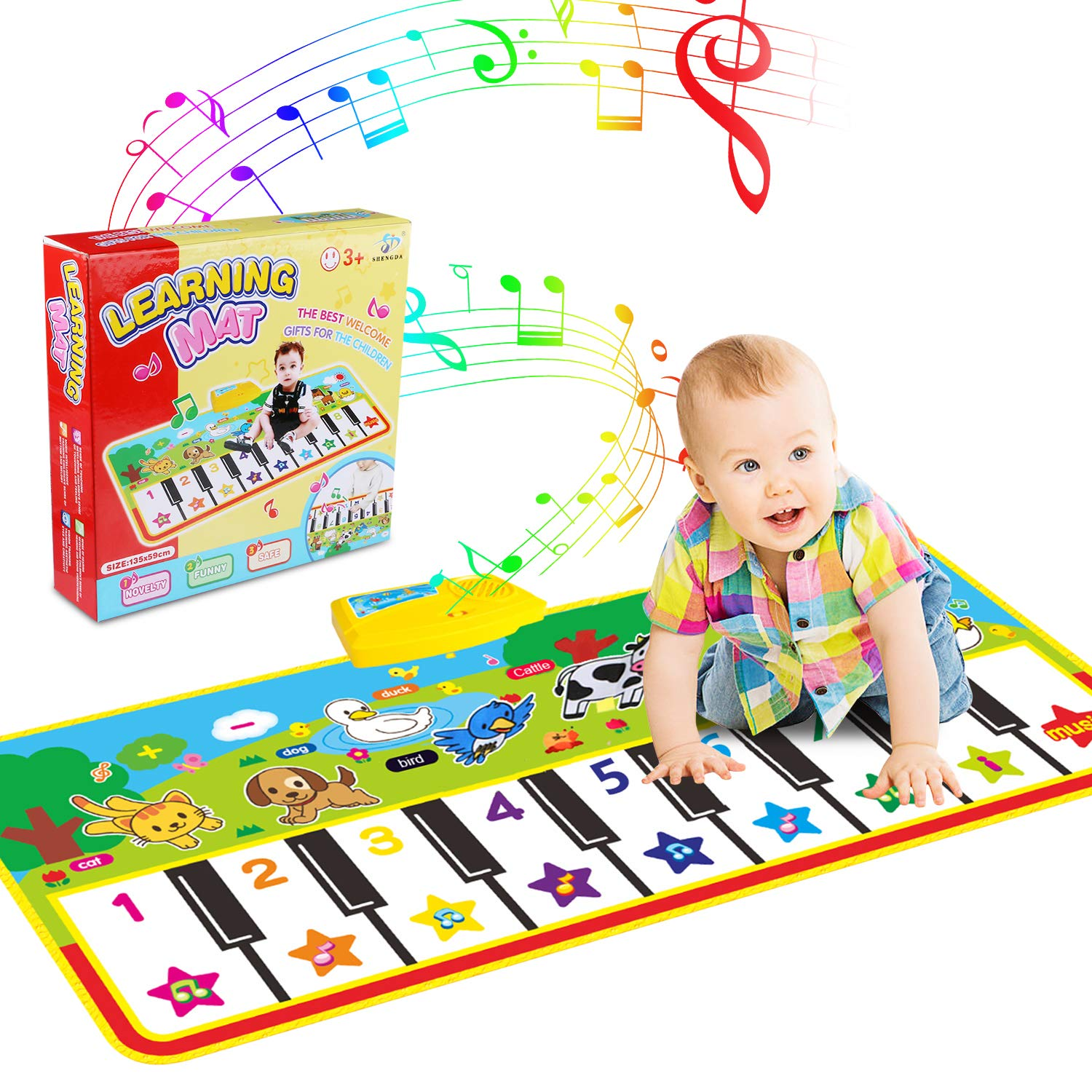 WOSTOO Piano Mat, Musical Piano Mat Keyboard Play Mat Portable Musical Blanket Instrument Toy with 8 Animal Sounds Dance Mat Educational Toy Gift for Kids Toddler Girls Boys by WOSTOO