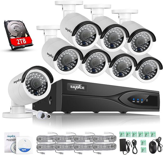 Bewegungsalarm und Fernzugriff SANNCE 8CH 1080p /Überwachungskamera Set 5-in-1 DVR mit 1 TB Festplatte und 8X Wasserdicht /Überwachungskameras mit 100 Fu/ß Nachtsicht