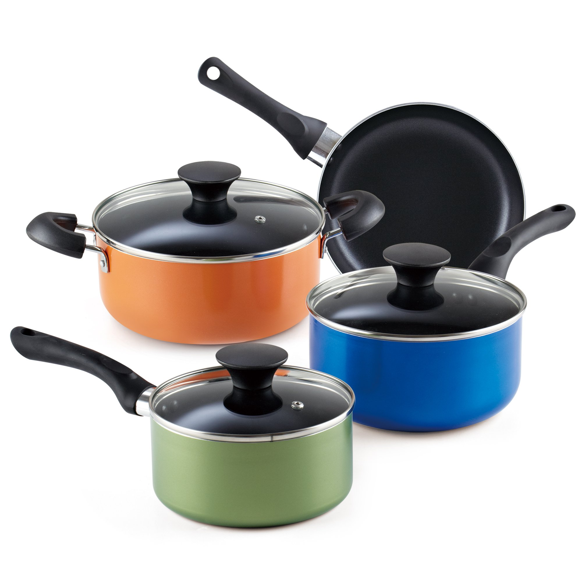 Cook N Home 7-Piece Nonstick Cookware Starter Set, Multicolor