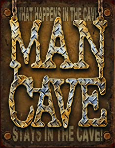 "Desperate Enterprises Man Cave - Diamond Plate Tin Sign, 16"" W x 12.5"" H"