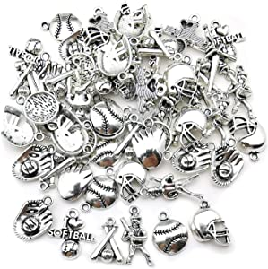 60pcs Baseball Theme Classic Softball Sport Charms Pendant Finding for DIY Necklace Bracelets Keychain Making